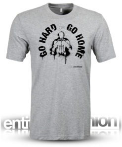 Go Hard or Go Home Mens Grey Slogan Tee