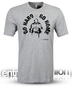 Go Hard or Go Home Mens Grey Slogan Tee
