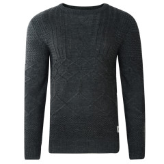 BELLFIELD MENS VOGAR MIXED CABLE KNIT CHARCOAL