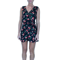 THE STYLE LONDON Y015817 LADIES BLACK FLORAL PLAYSUIT