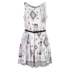 Glamorous White Aztec Print Belted Dress