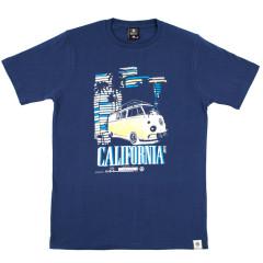 VW Officially Licensed Mens Camper Dots T-shirt Estate Blue