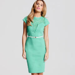PPaper Dolls Green Lace Insert Dress