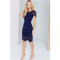 Paper Dolls Navy Lace Panel Bodycon Dress