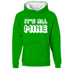 Minecraft It's All Mine Childrens Hoody Green