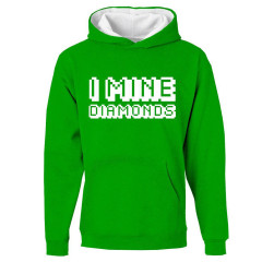 Minecraft I Mine Diamonds Childrens Hoody Green