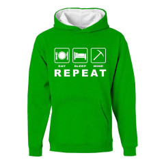 Minecraft Eat Sleep Mine Childrens Hoody Green