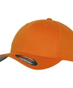 Yupoong Mens Orange Flexfit Baseball Cap