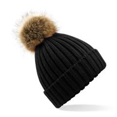 Ladies Removable Fur Pom Pom Beanie Black