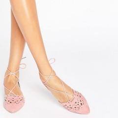 Glamorous Pink Lace Up Flat Pumps