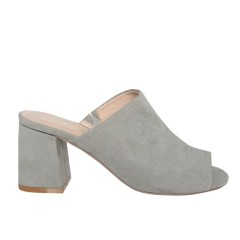 Glamorous Grey Suedette Chunky Heeled Mules
