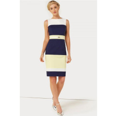 Paper Dolls Navy & Yellow Panel Dress