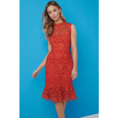 Paper Dolls Orange Peplum Crochet Lace Dress