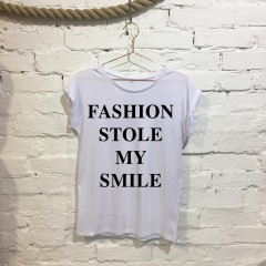 Fashion stole my smile Ladies Funny Slogan Fashion T-shirt White