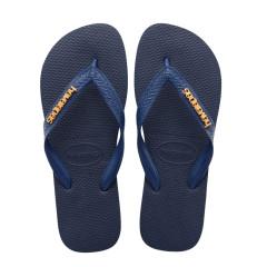 Havaianas Womens Flip Flops Logo Metallic Navy Blue