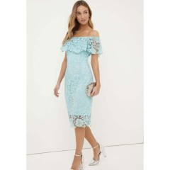 Paper Dolls Mint Crochet Lace Bardot Dress
