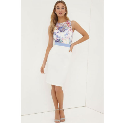 Paper Dolls Floral Print Two Tone Dress
