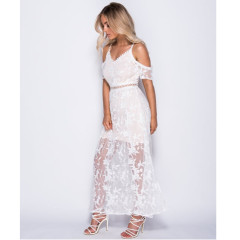 Parisian White And Nude Cold Shoulder Mesh Embroidered Maxi Dress