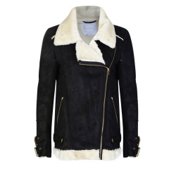 Bellfield Womens Naul Black Aviator Faux Fur Flying Jacket