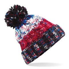 Unisex Knitted Chunky Pom Pom Beanie Hat Black Jack
