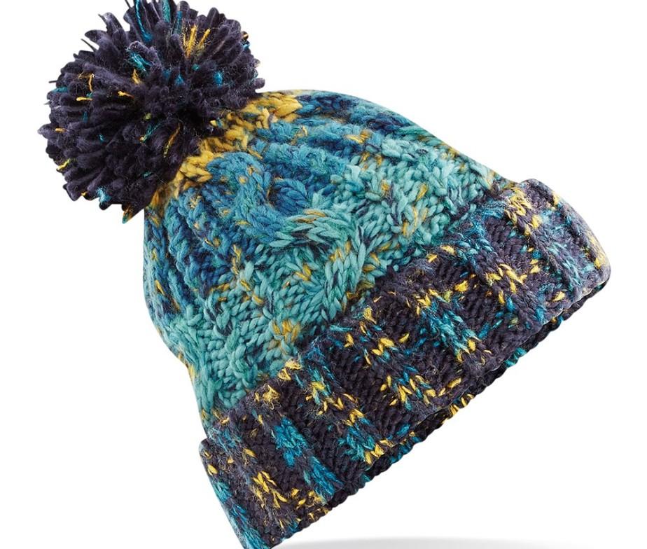 Unisex Knitted Chunky Pom Pom Beanie Hat Marine Splash - IC Clothing ea1faf71f44