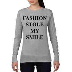 Fashion Stole My Smile Ladies Crew Neck Sweatshirt Grey
