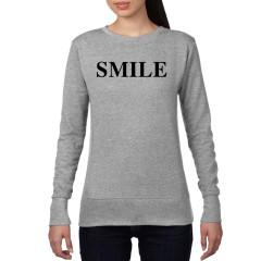 Smile ladies grey crew neck sweat shirt