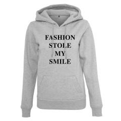Fashion stole my smile ladies grey slogan hoody
