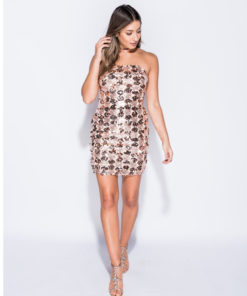 Parisian Rose Gold Sequin Bandeau Bodycon Mini Dress