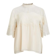 Vila Vilelika Cream Lace Top