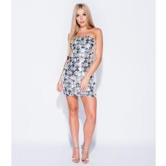 Parisian Silver Sequin Bandeau Bodycon Mini Dress