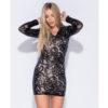 Parisian Black Patterned Sequin V Neck Bodycon Dress