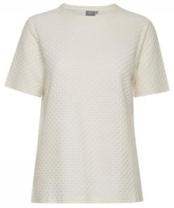 B.Young Parly Off White Textured Organic Cotton Top