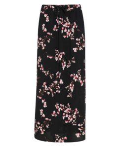 B.Young Irianna Black Floral Print Skirt