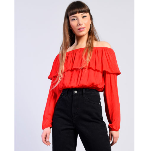 Glamorous Red Soft Frill Bardot Top With Sleeves