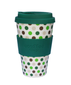 Reusable Ecoffee Coffee Cup Green Polka 14oz