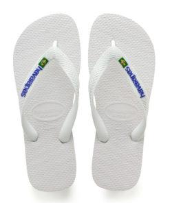 Havaianas Mens Brasil Logo White Flip Flops