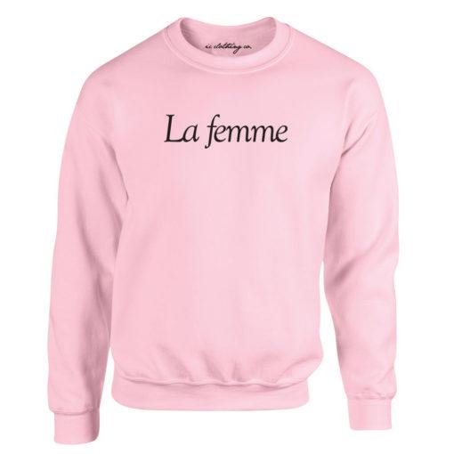 LA FEMME LADIES LIGHT PINK CREW