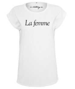 LA FEMME LADIES WHITE T-SHIRT