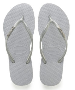 Havaianas Womens Slim Logo Metallic Grey Flip Flops