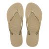 Havaianas Womens Slim Logo Metallic Sand Grey/Light Golden Flip Flops