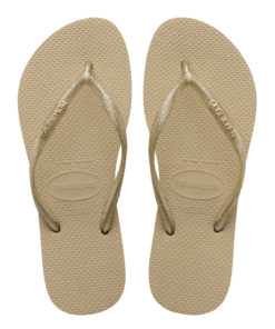 Havaianas Womens Slim Logo Metallic Sand Grey/Light Golden Flip Flops
