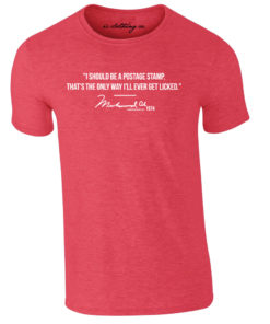 Muhammad Ali Postage Stamp Quote Heather Red T-Shirt