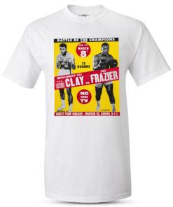 Muhammad Ali Vs Joe Frazier Fight Poster White T-Shirt