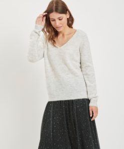 Vila Sifer Wool Knitted Light Grey V Neck Jumper