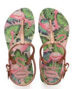 Havaianas Kids Childrens Girls Freedom Print Rose Nude Flip Flops