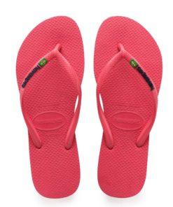 Havaianas Womens Slim Brasil Logo Flamingo Flip Flops