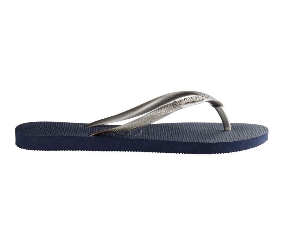 89c34712584711 Havaianas Womens Slim Logo Metallic Navy   Silver Flip Flops - IC ...