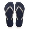 Havaianas Womens Slim Logo Metallic Navy / Silver Flip Flops