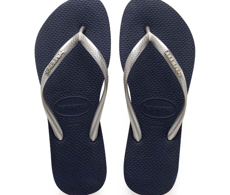 400e1c586d56 Havaianas Womens Slim Logo Metallic Navy   Silver Flip Flops - IC ...